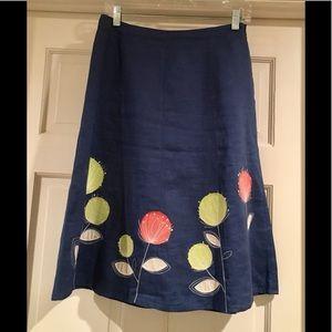 100% linen embroidered blue Boden skirt Sz 4T